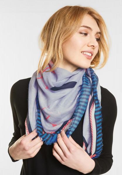 Street One - Reiselust Print Tuch in Morning Blue Knit