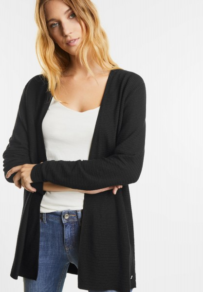 Street One - Cardigan mit Rippstruktur in Black