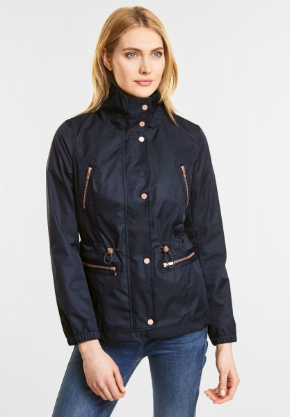 Street One Kurze taillierte Nylonjacke in Night Blue