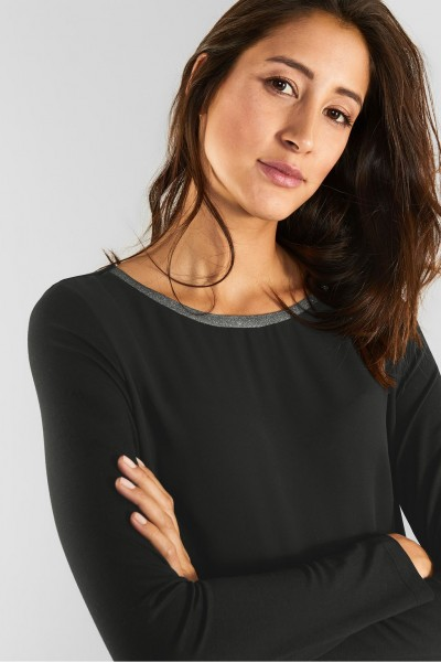Street One - Chiffon Shirt mit Glitzer in Black