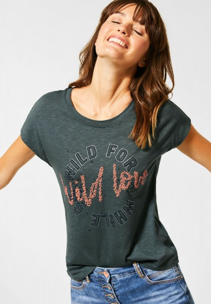 CECIL - T-Shirt mit Frontprint in Slate Green
