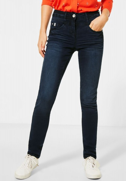 CECIL - Dunkelblaue Slim Fit Denim in Dark Blue Used Wash