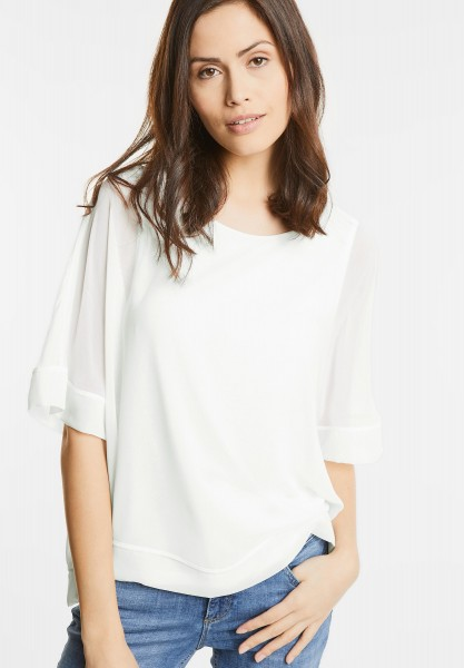 Street One - Doppellagiges Shirt Stea in Off White