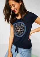 Street One - T-Shirt mit Frontprint in Deep Blue
