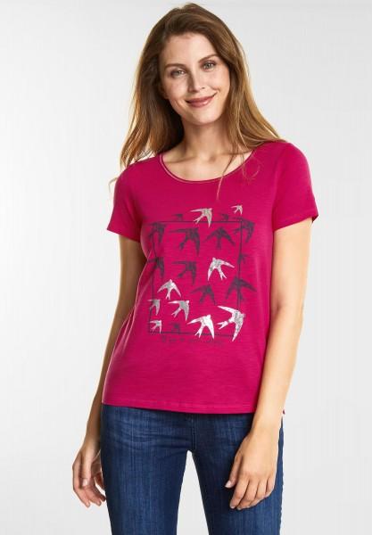 CECIL - Vogelprint Shirt in Bright Magenta