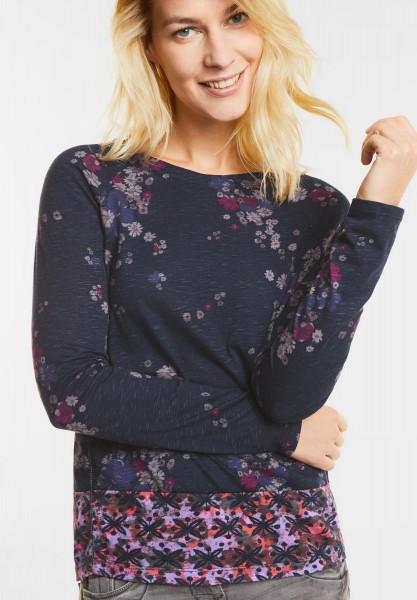 CECIL - Blüten Print Langarm Shirt in Deep Blue