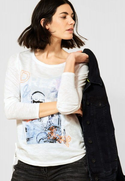 CECIL - Langarmshirt-Shirt mit Print in Pure Off White