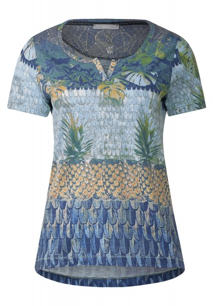 CECIL - T-Shirt mit Tropical-Print in Deep Blue
