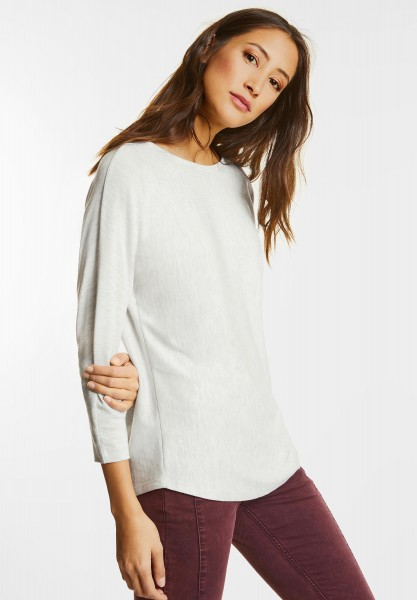 Street One - Meliertes Strickshirt Pavla in Shell White Melange