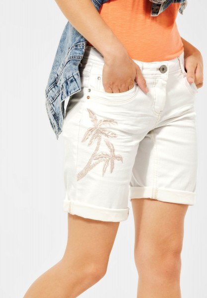 CECIL - Loose Fit Shorts mit Palmen in Pure Off White