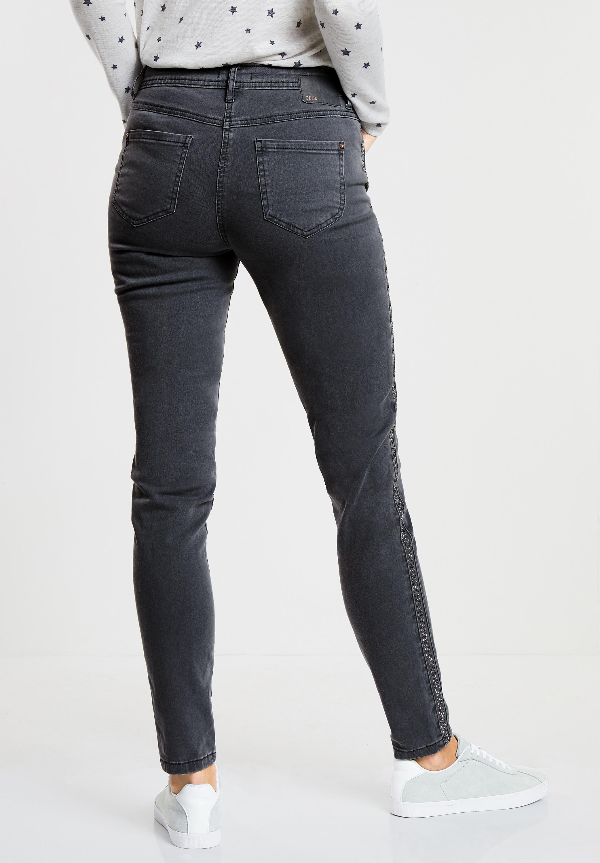 CECIL Verzierte Denim Victoria in Dark Graphite Grey