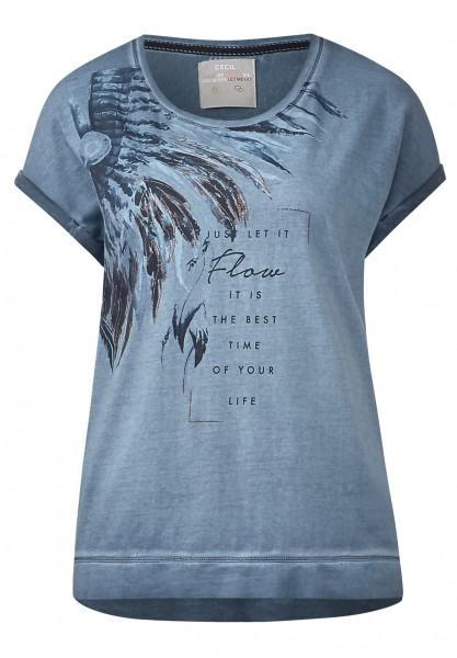 CECIL - Washed-Look Printshirt Deep Blue
