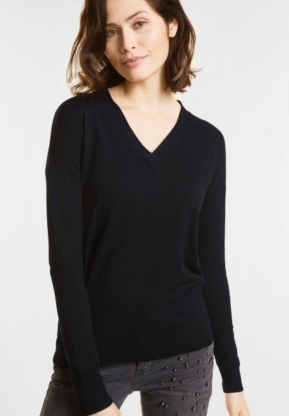 Street One - Rippstruktur Pullover Maja in Black