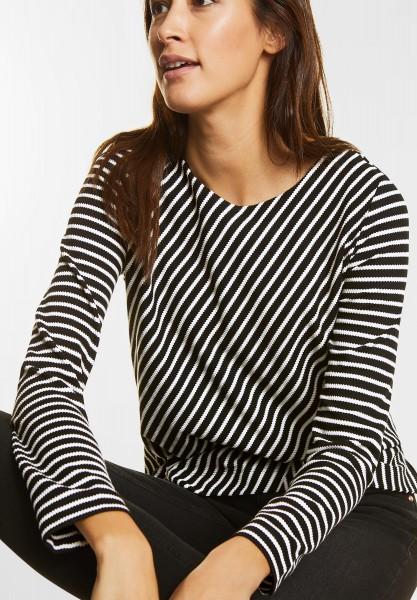 Street One - Diagonal gestreiftes Shirt in Black