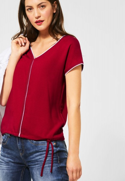 Street One - T-Shirt mit Kontrast-Details in Sweet Wine