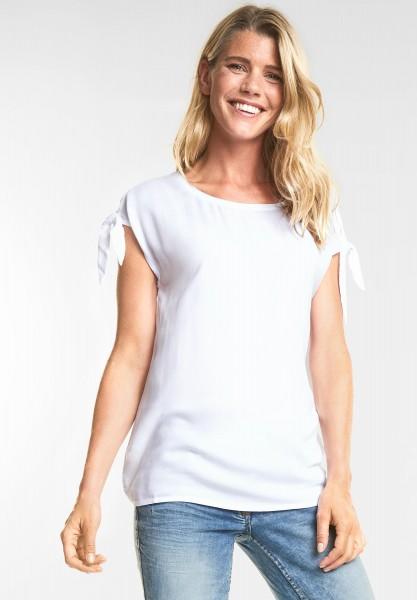 CECIL - Uni Bluse mit Knoten Detail in White