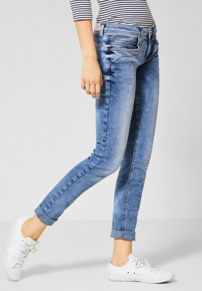 Street One - Repreve®Denim Crissi in Bold Blue Heavy Random Bleach