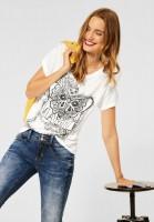 Street One - T-Shirt mit Schimmer Print in Off White