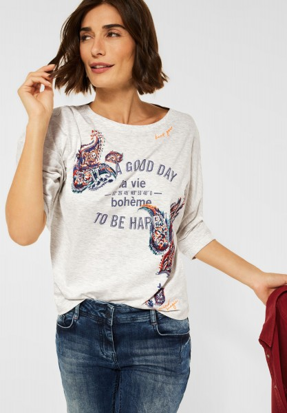CECIL - Shirt mit Fledermausärmel in Off White Melange