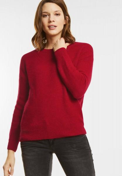 Street One - Cosy Rundhals Pullover in Scarlet Red Melange