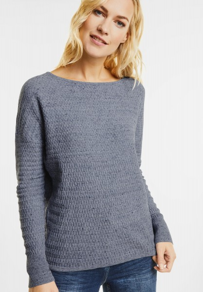 CECIL - Struktur Pullover in Denim Heather Melange
