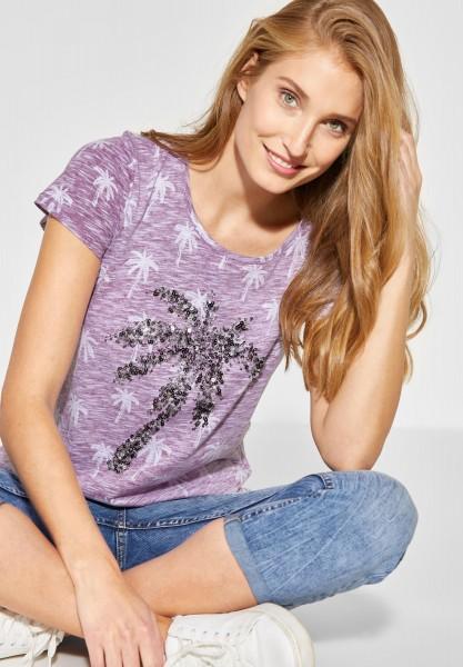 CECIL - Pailletten Shirt mit Palmen in Deep Berry