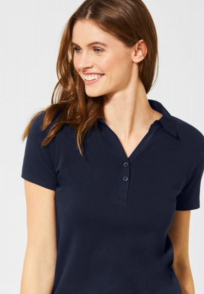 CECIL - Polo-Shirt in Unifarbe in Deep Blue