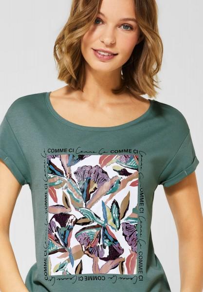Street One - T-Shirt mit Blumenaufdruck in Thyme Jade