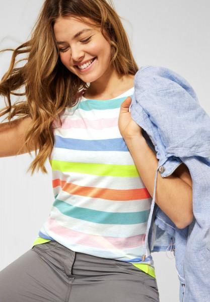 CECIL - T-Shirt mit Streifen Muster in Pure Off White