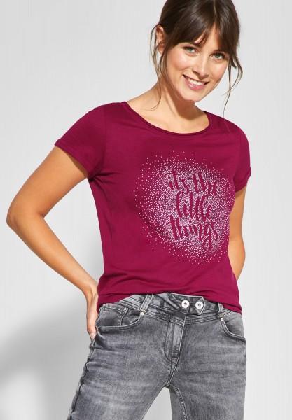 CECIL - Shirt mit Wording und Strass in Mystic Berry