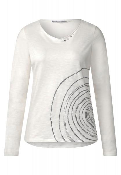 CECIL - Shirt mit Herzprint Pure Off White