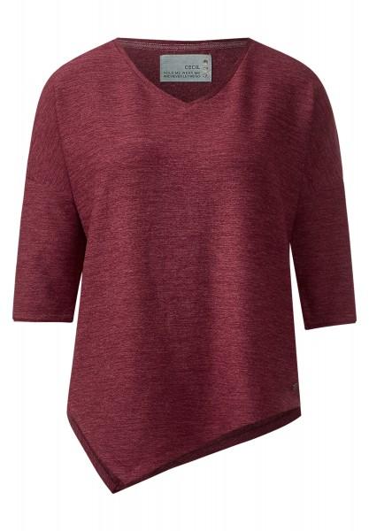 CECIL - Zipfeliges 3/4-Arm Shirt Red Tones Melange