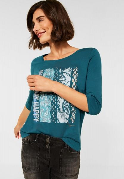 CECIL - T-Shirt mit Fotoprint in Hydro Green
