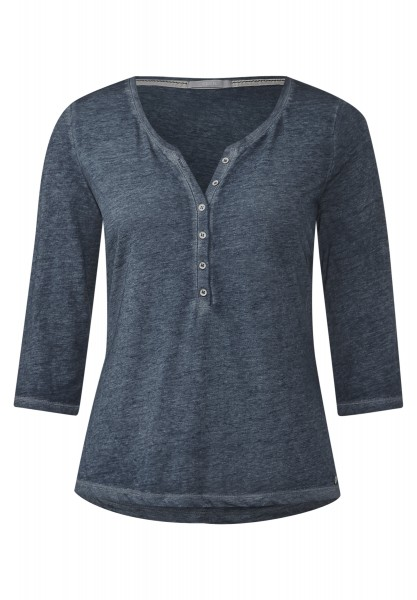 CECIL - Washed Serafino-Shirt Holly Deep Blue