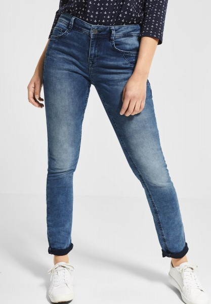 Street One - Casual Fit Denim Jane in Blue Overdyed Bleached