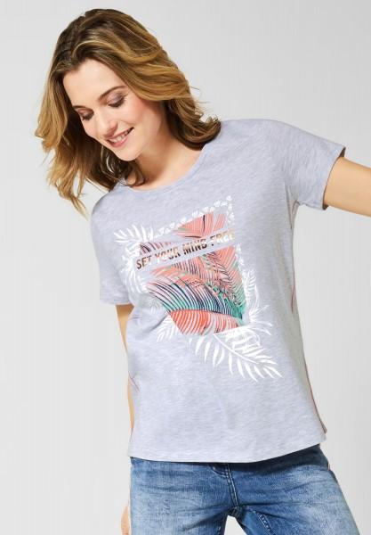 CECIL - T-Shirt mit Aufdruck in Off White Melange