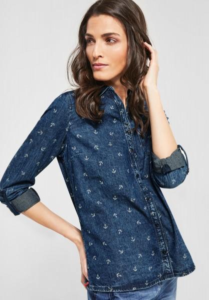 CECIL - Denim Bluse mit Ankern in Mid Blue Wash