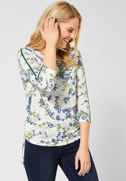 CECIL - Shirt mit Burn-Out Blumen in Light Alabaster Beige