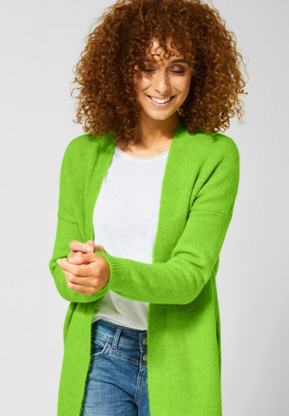 Street One - Kuschelige Long-Strickjacke in Flash Lime