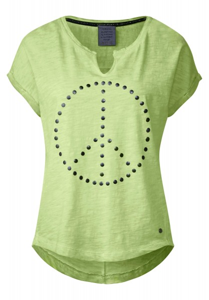 CECIL - Shirt mit Peacezeichen in Juicy Green