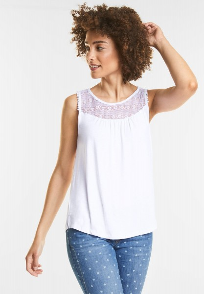 Street One - Romantisches Top mit Spitze in White