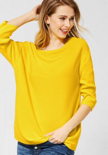 Street One - Dünner Pullover mit U-Boot in Shiny Yellow