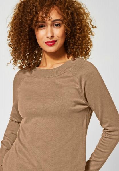 Street One - Unifarbener Pullover Gundi in Easy Camel Melange