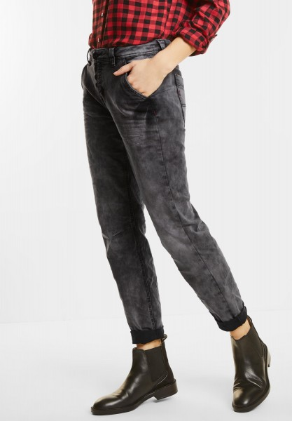 Street One - Graue Loose Fit Denim Bonny in Black Heavy Random Bleach