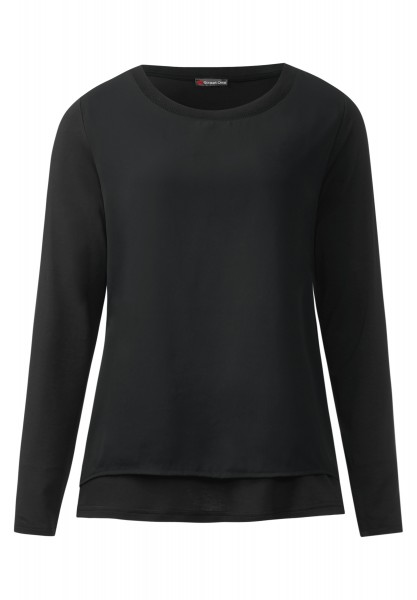 Street One - Shirt mit Chiffonlayer Ika Black