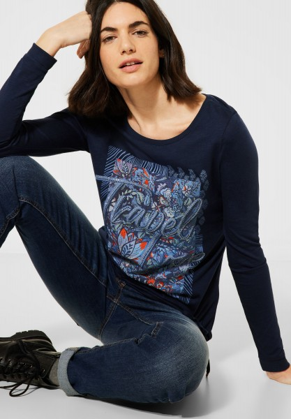 CECIL - Shirt mit Frontprint in Deep Blue