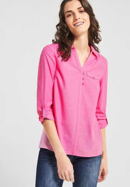 CECIL - Chambray Punkte Bluse in Bubblegum Pink