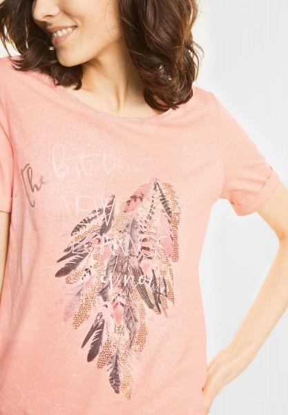 Street One - Federprint Shirt mit Glitzer in Lucky Peach