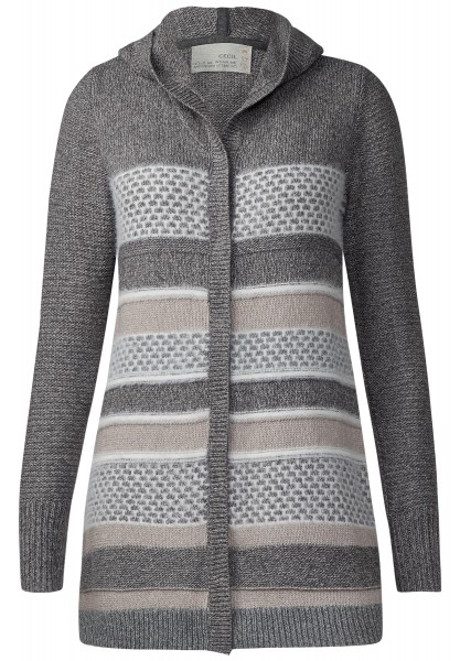 CECIL - Lange Strickjacke mit Kapuze Light Powdered Taupe
