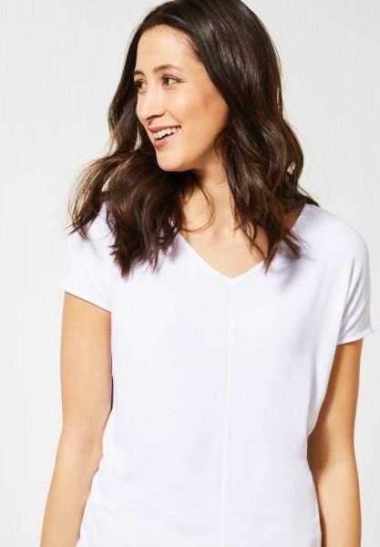 Street One - T-Shirt mit V-Neck in White